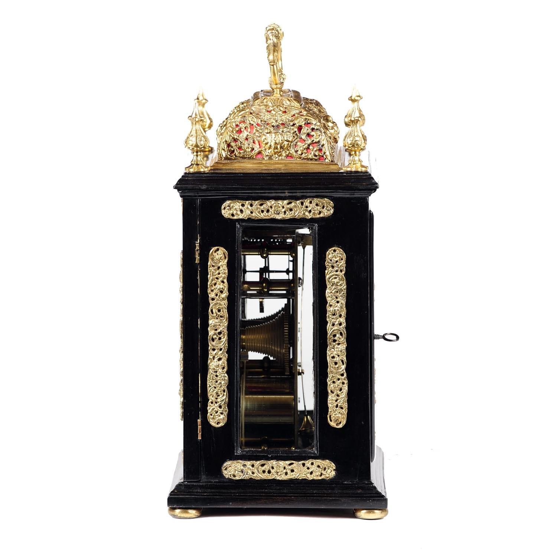 William Amp Mary Ebony Basket Top Bracket Clock By Jacobus