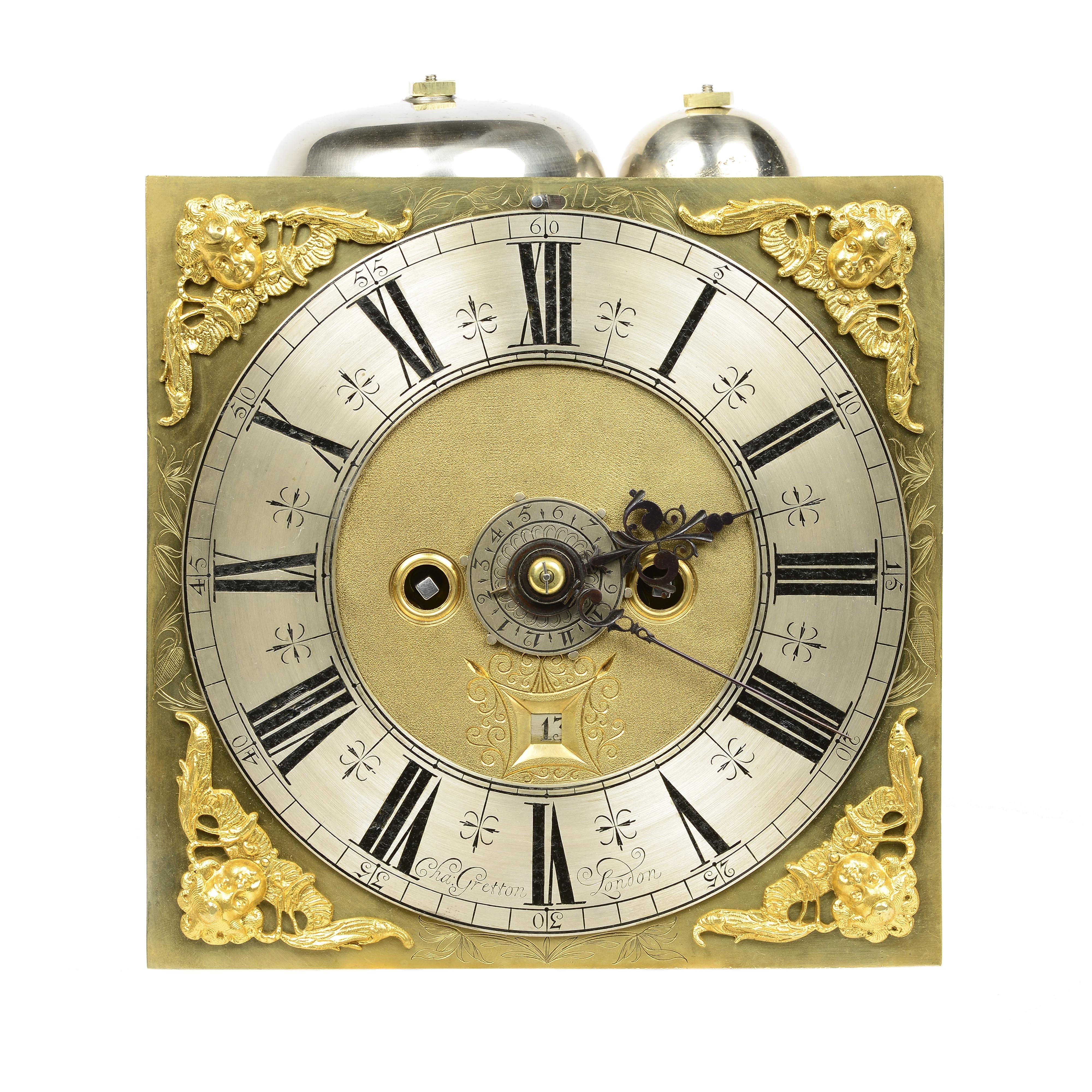 William Amp Mary Ebony Basket Top Bracket Clock By Charles